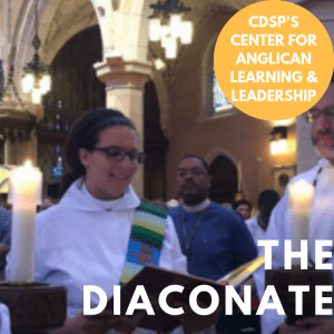 Deacon in white alb and stole reading the Gospel