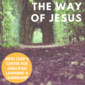 A path through a forest. Text: The Way of Jesus, with CDSP's Center for Anglican Learning & Leadership